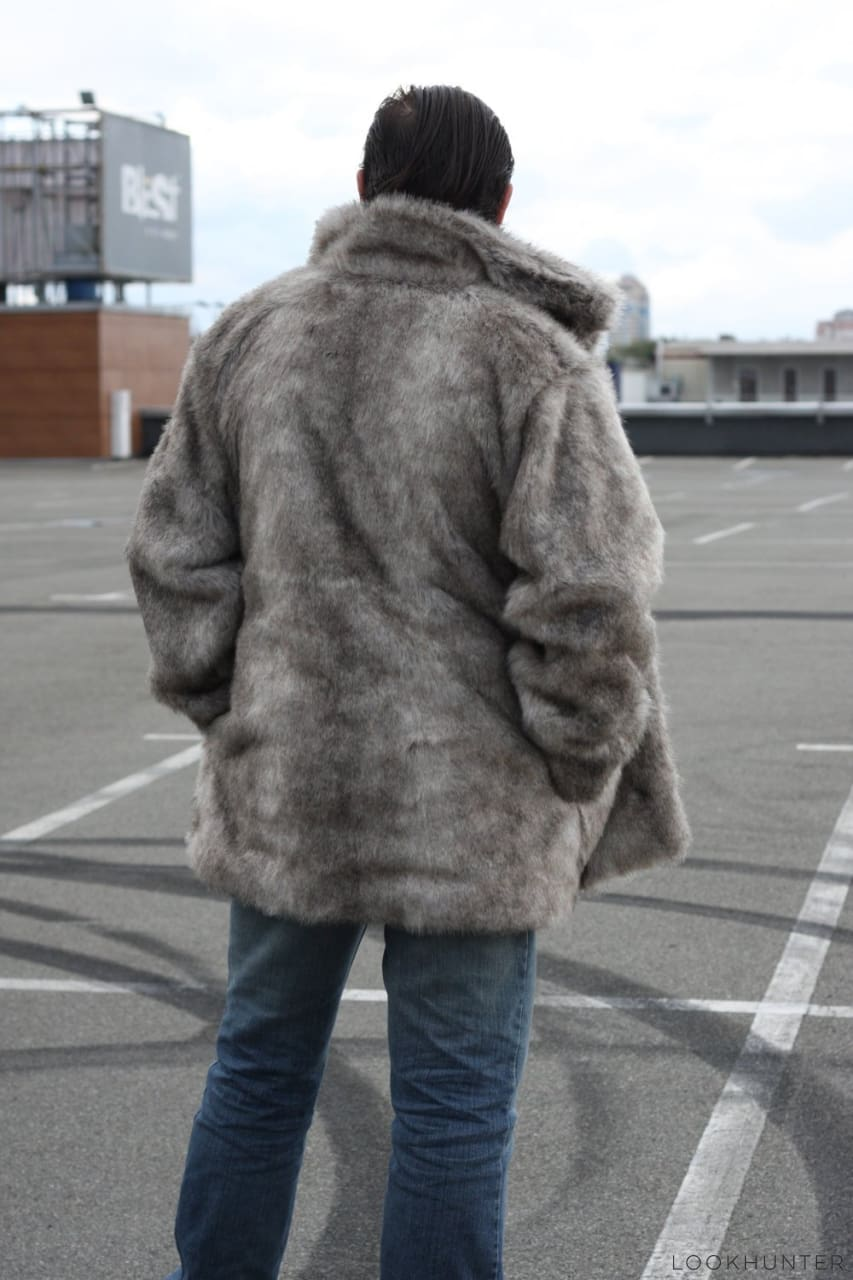 Faux wolf fur hooded jacket - LOOKHUNTER