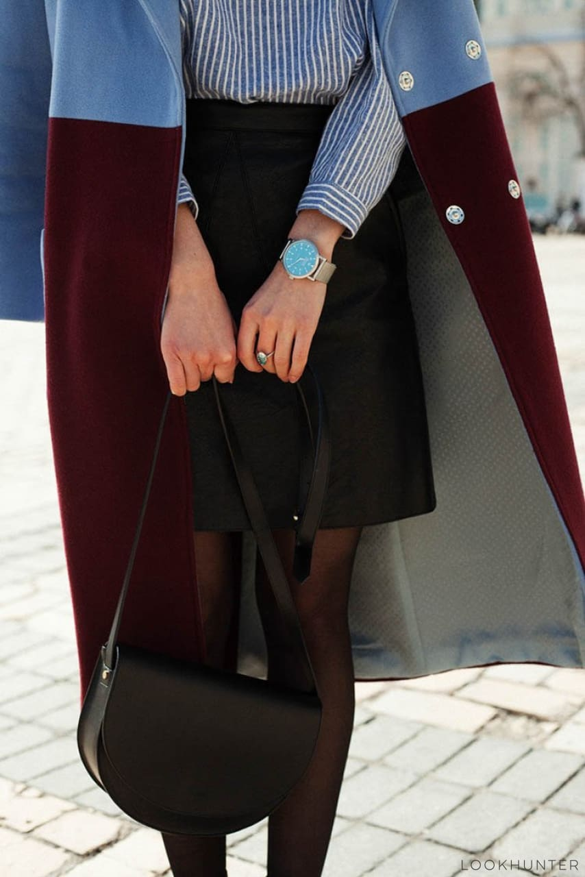 Blue Marsala Color Block Double Breasted Midi Coat - LOOKHUNTER