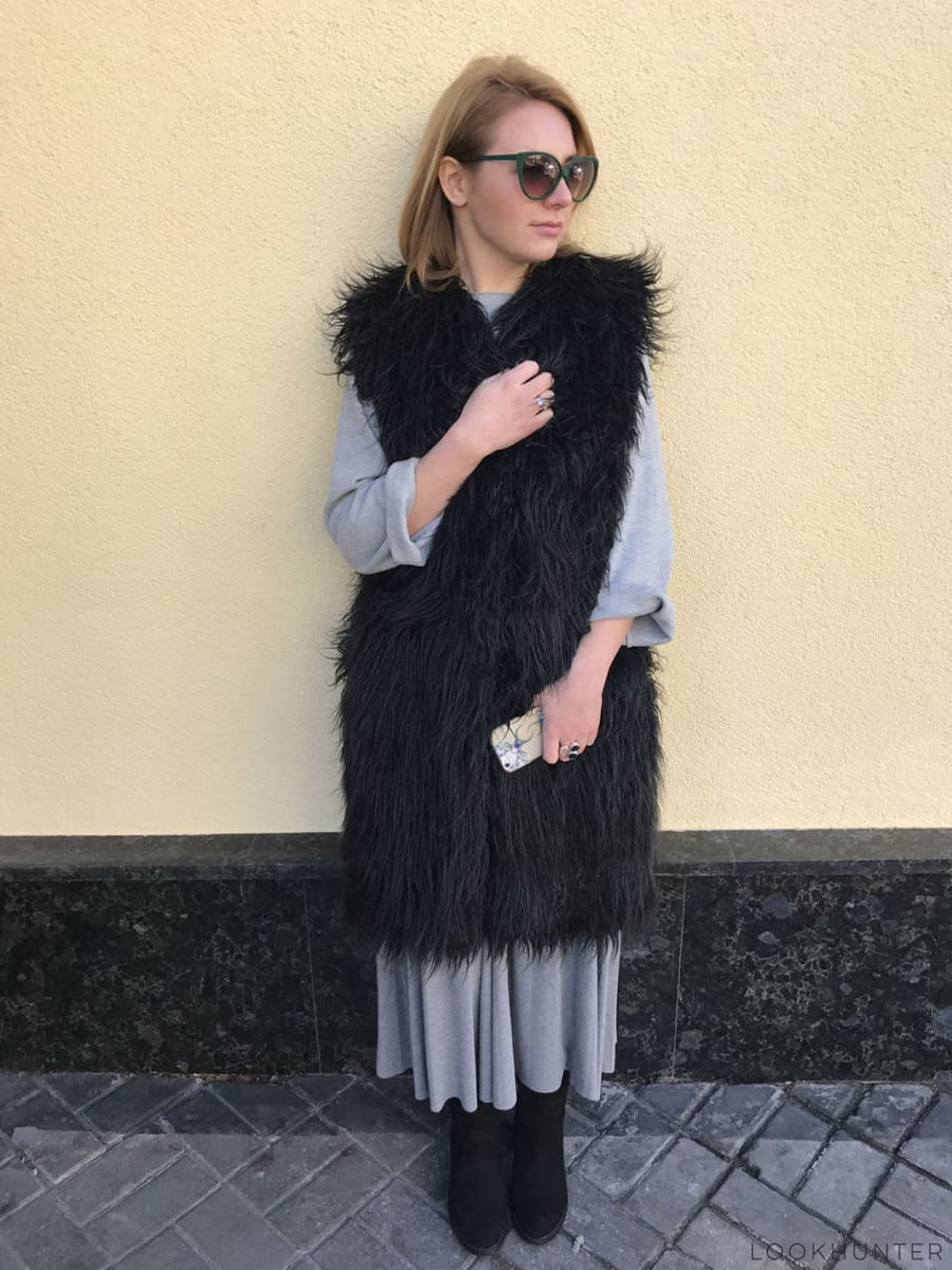 Shaggy Faux Alpaca Fur Vest - LOOKHUNTER