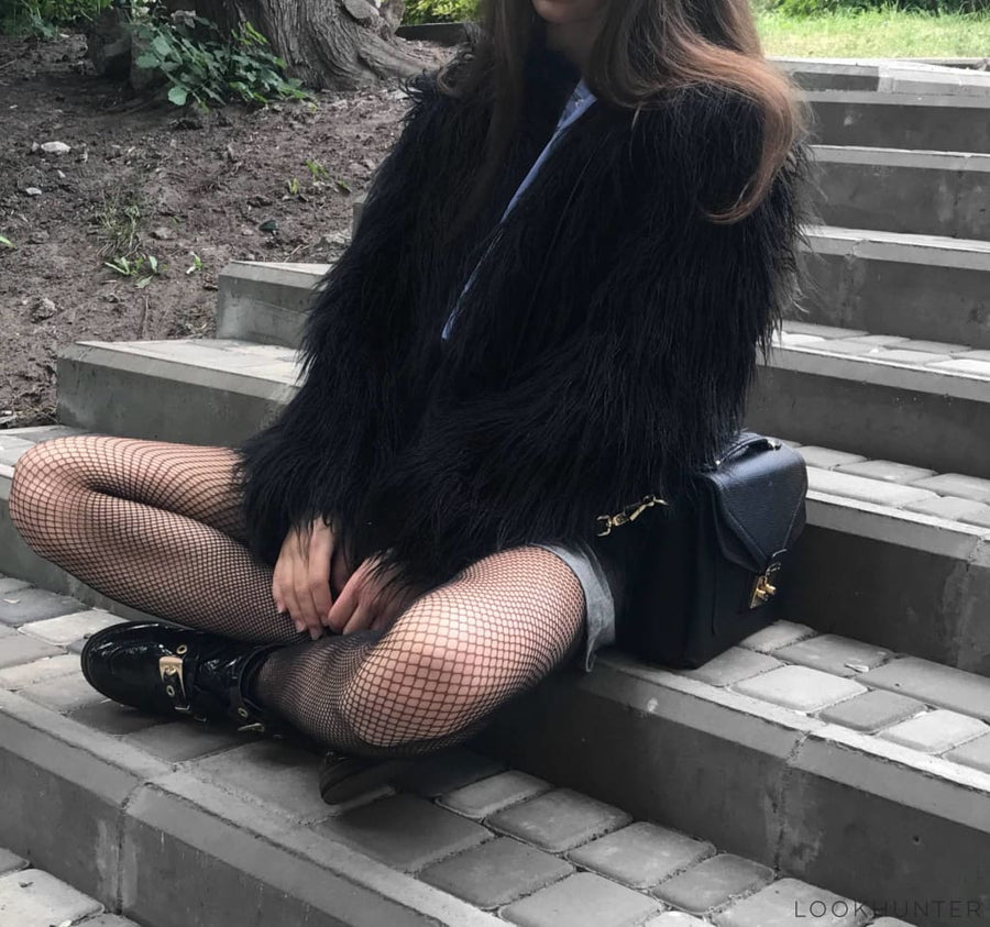 Black Faux Fur Jacket Cropped - LOOKHUNTER