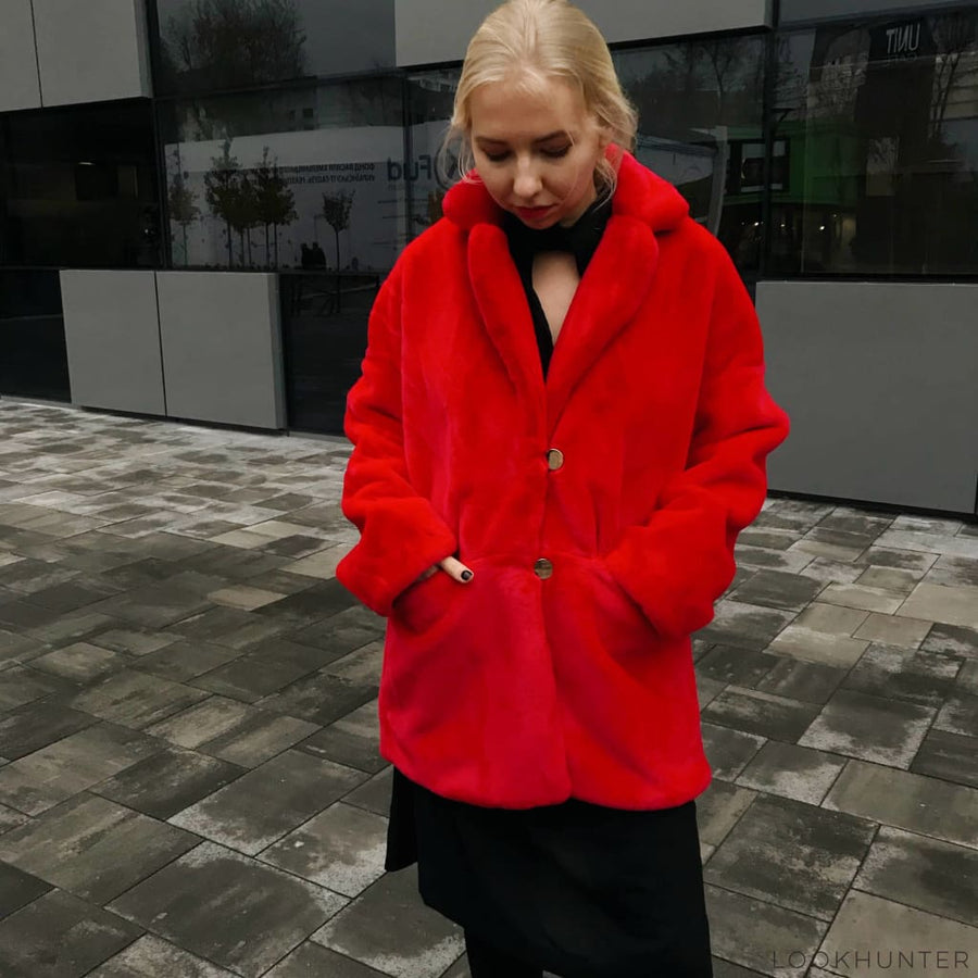 Red Faux Rabbit Fur Coat - LOOKHUNTER