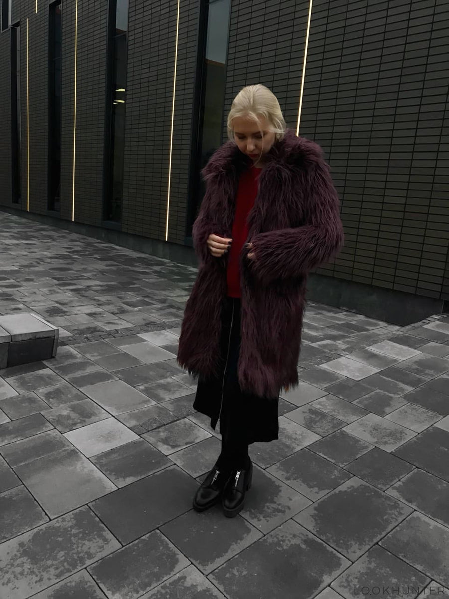 Plum Faux Llama Fur Spread Collar Coat - LOOKHUNTER