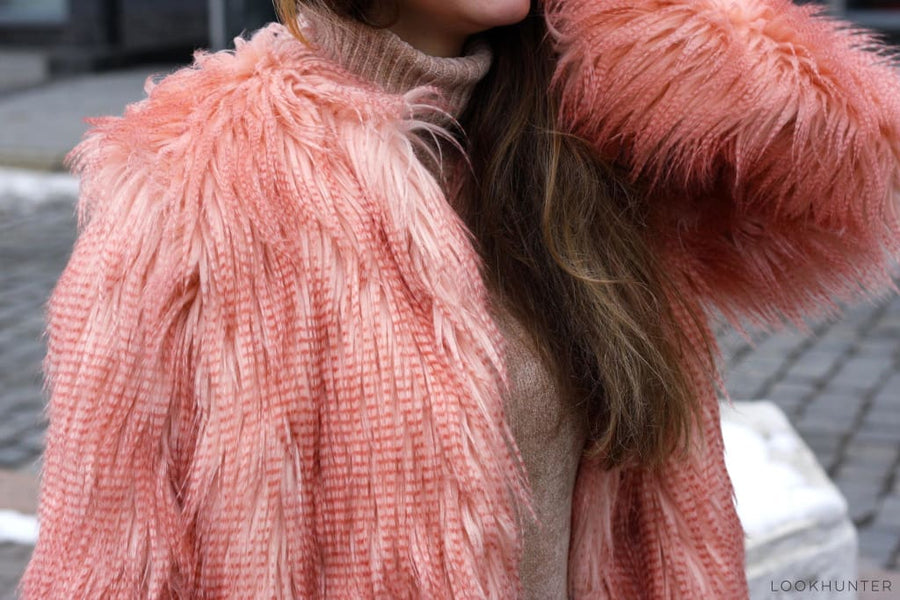 Peach Pink Faux Llama Fur Coat - LOOKHUNTER
