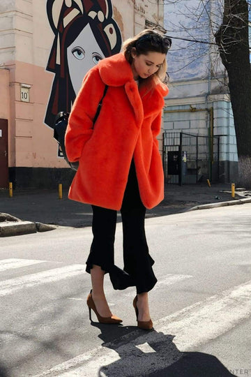 Orange Faux Fur Lapel Coat - LOOKHUNTER