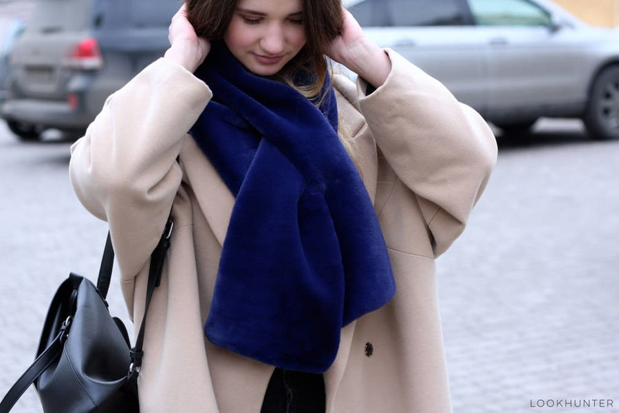 Navy Faux Rabbit Fur Scarf - LOOKHUNTER