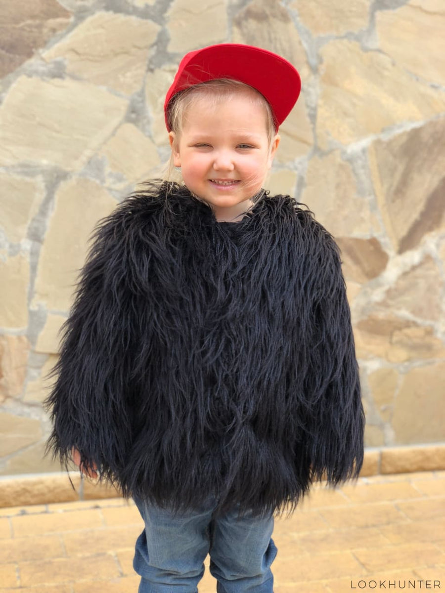 Girls Black Faux Llama Fur Coat - LOOKHUNTER