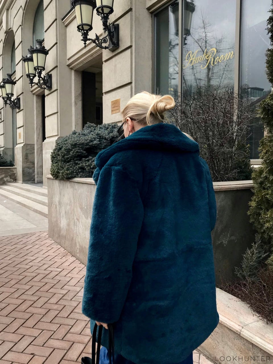 Wide Lapel Faux Rabbit Fur Coat - LOOKHUNTER