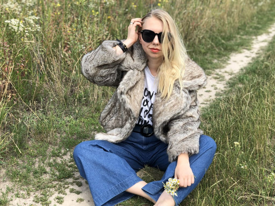 Faux Wolf Fur Lapel Jacket - LOOKHUNTER