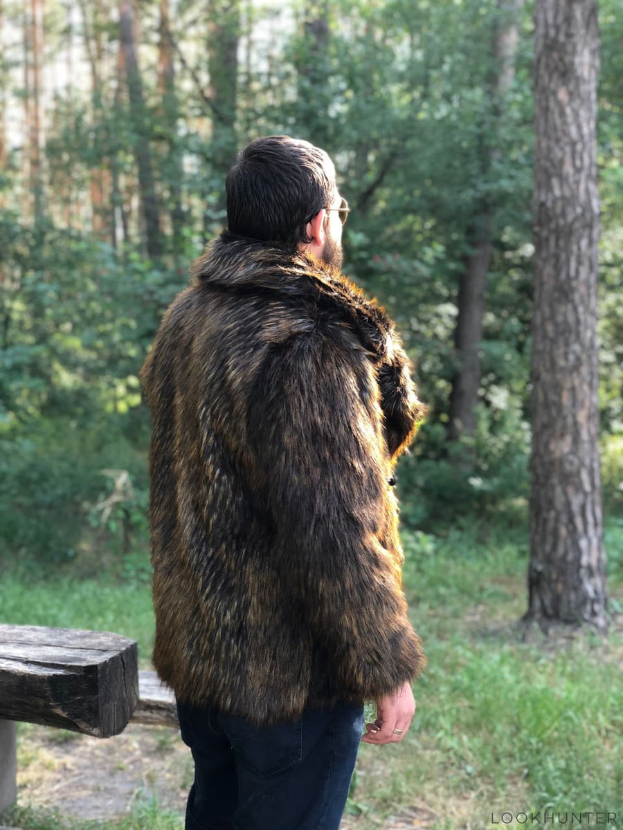 Short faux raccoon fur jacket - LOOKHUNTER