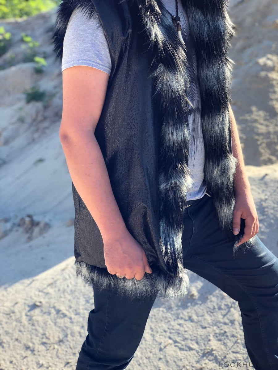 Faux Fur Reversible Hooded Vest - LOOKHUNTER