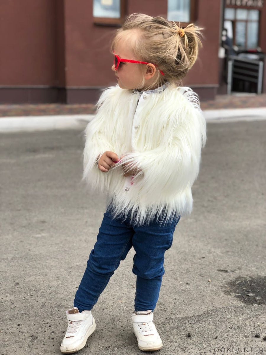 Milky White Kids Faux Fur Fluffy Jacket - LOOKHUNTER