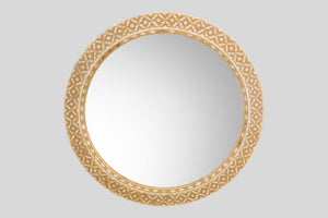 Round Mother of Pearl Mirror in Sand Beige