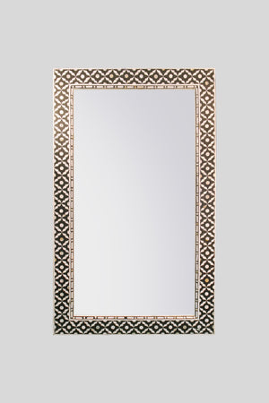 Large Rectangular Mother of Pearl Mirror in Midnight Black