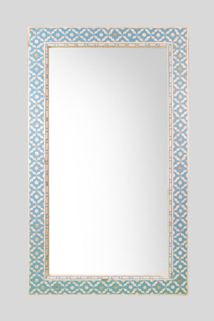 Large Mother of Pearl Mirror in Mellow Azure