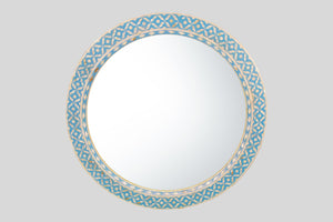 Round Mother of Pearl Mirror in Mellow Azure