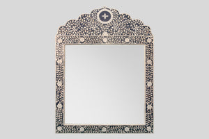Crested Mother of Pearl Mirror in Indigo Blue