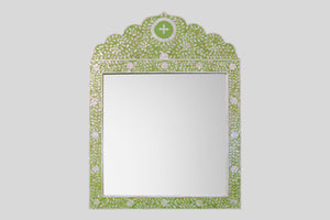 Crested Mirror in Lime-Chartreuse Green