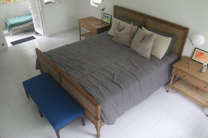 Tanjong Cane Bed in Weathered Oak