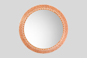 Round Mother of Pearl Mirror in Orange