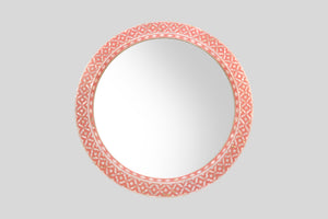 Round Mother of Pearl Mirror in Pink