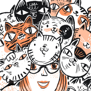 Ilustracion Cat Lady - Galeria Babel