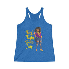 Load image into Gallery viewer, Thick Thighs Saves Lives Women's Tri-Blend Racerback Tank