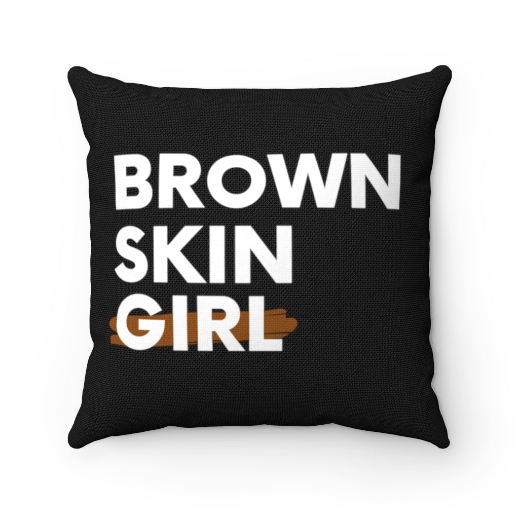 Brown Skin Girl Spun Polyester Square Pillow