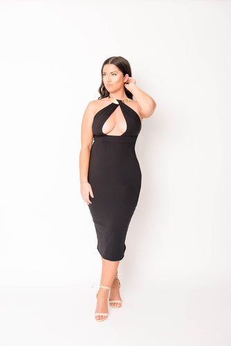 Halter Backless Dress-Black