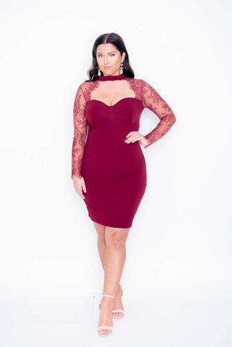 Red Bodycon Women Lace Dress