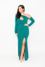 Load image into Gallery viewer, Green One Shoulder Maxi Party Dress