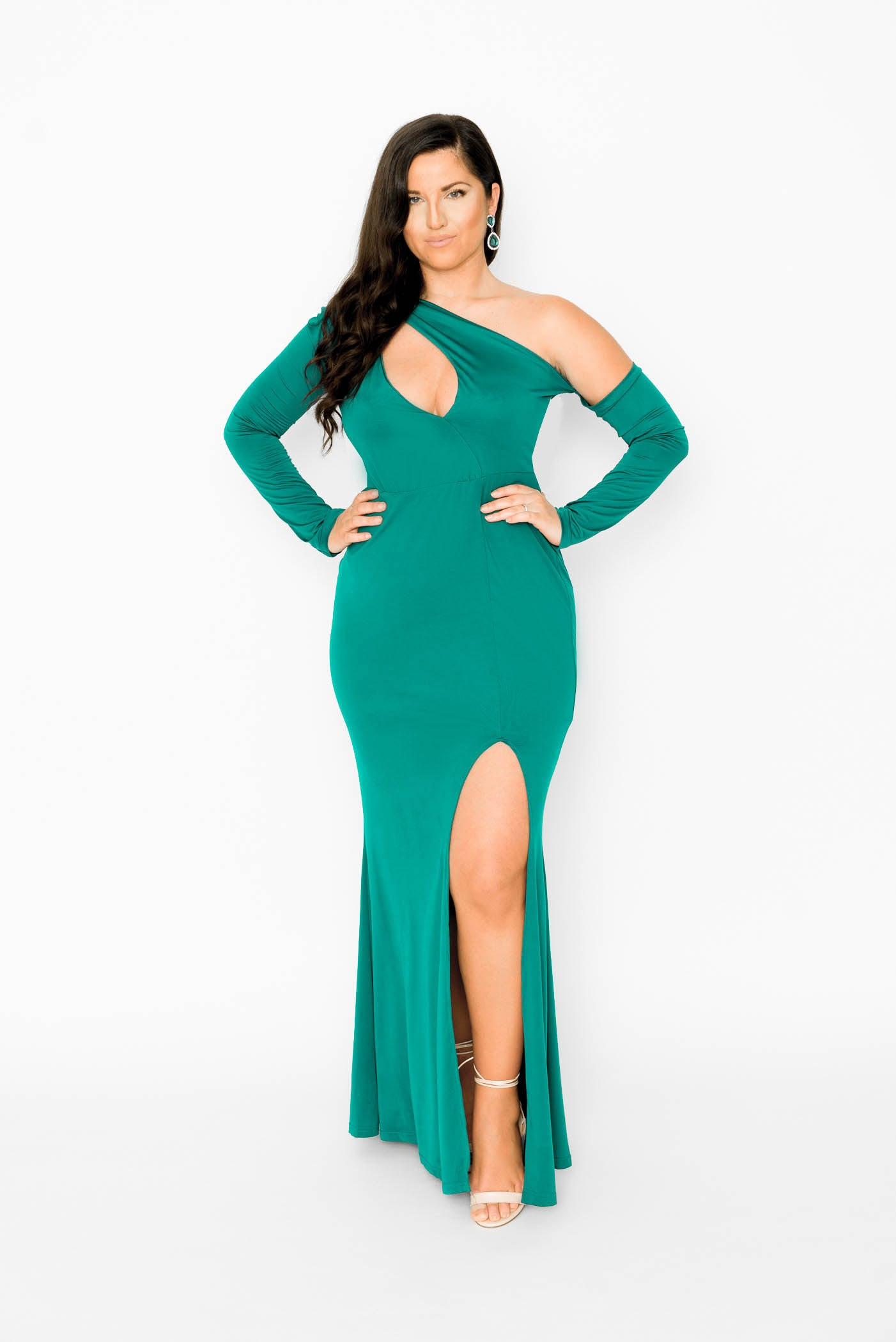 Green One Shoulder Maxi Party Dress