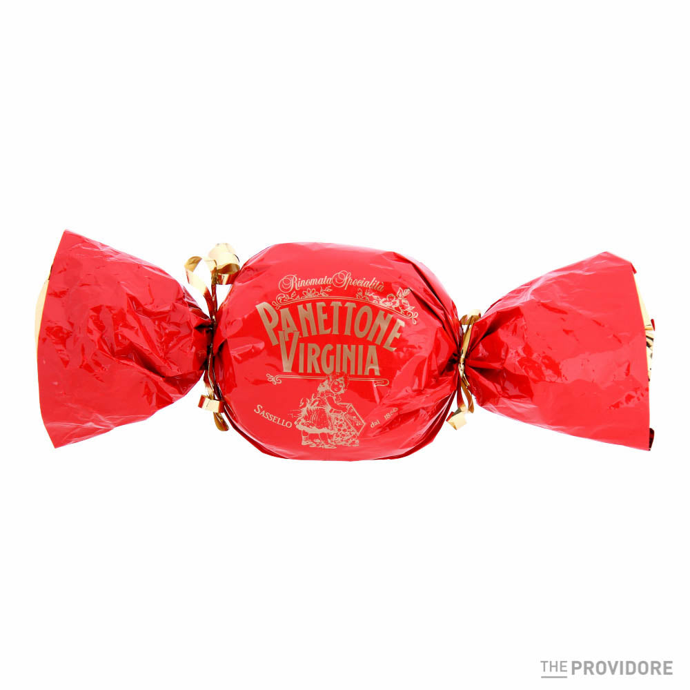 Low bake Panettone in stylish red bon-bon gift wrapping