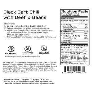Freeze Dried Black Bart Chili with Beef & Beans