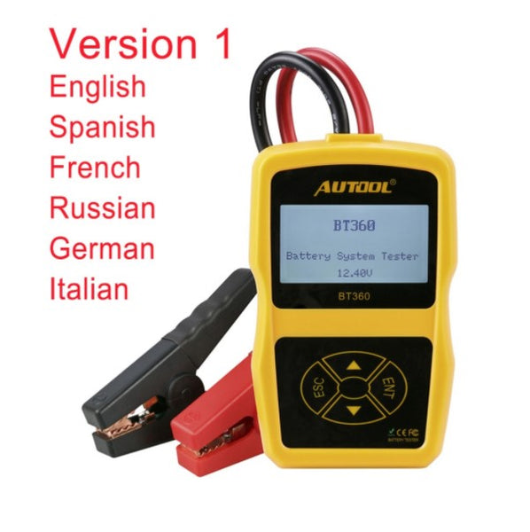 AUTOOL BT360 Car Battery Tester Cranking Charging Digital Analyzer 2000CCA 220AH Multi-Languages