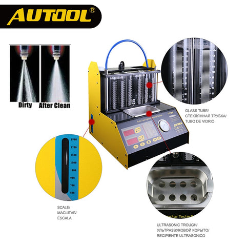 AUTOOL CT200 Petrol Car Motorcycle Injector Cleaning Tool 6/4 Cylinder Ultrasonic Clean Tester