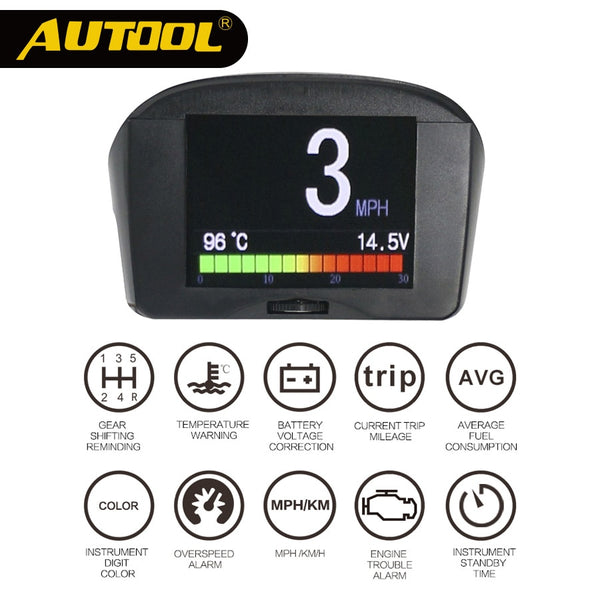 Digital OBD2 Speedometer Head Up Display Water Temperature Gauge MPH KMH Voltage Meter AUTOOL