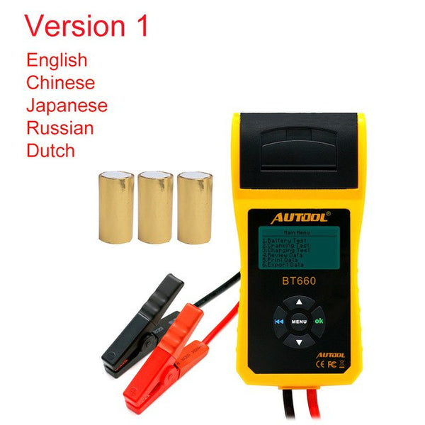 AUTOOL Car Repair Workshop Battery Tester with Printer Multi-Language 12V Vehicle Battery Measure
