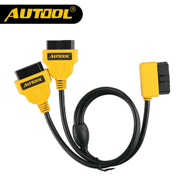 AUTOOL 30cm Universal 1 to 2 16pin OBD2 Cable Connector Male to Female Splitter Extension