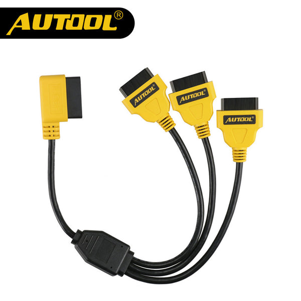 AUTOOL OBD2 Split Cable 1 to 3 Converter Adapter 50cm OBD2 Splitter Y Cable J1962M to 3-J1962F