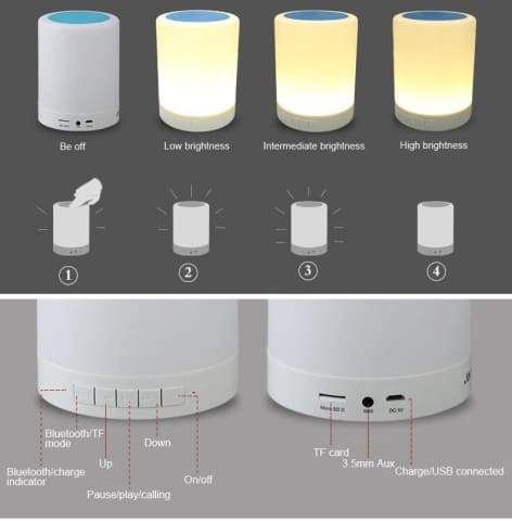 Touch Smart Led Night Light With Bluetooth Speaker