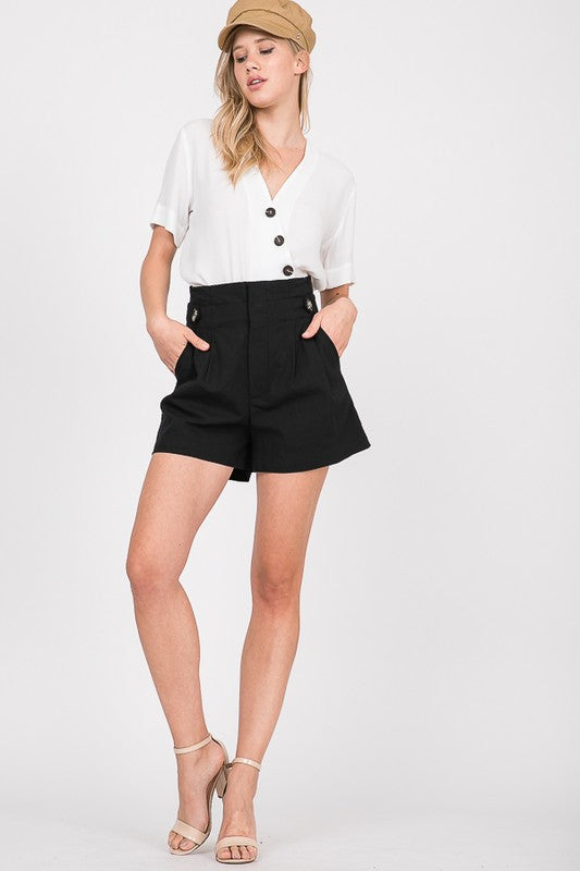 Black Highwaisted Cotton Shorts