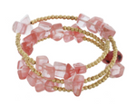 Blush Pink and Gold Wrap Bracelet