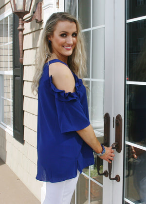 Cobalt Blue Cold Shoulder Top