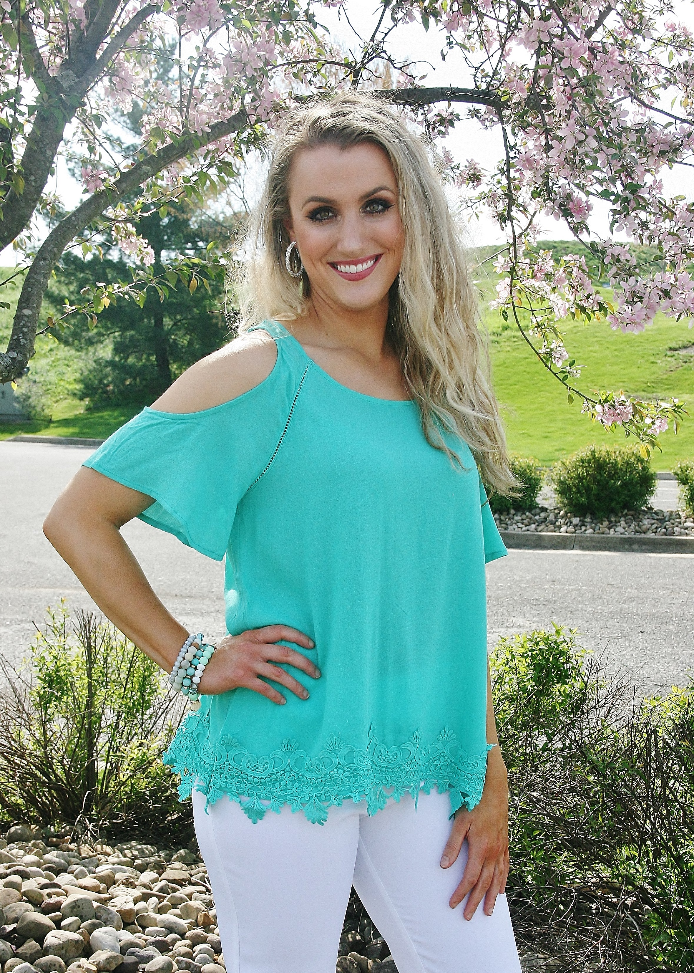 Spearmint Cold Shoulder Top