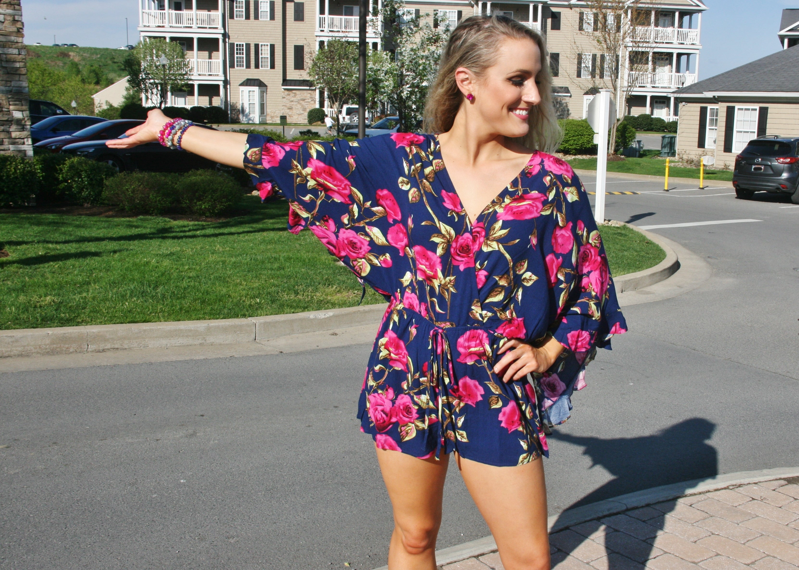 Run For the Roses Floral Romper