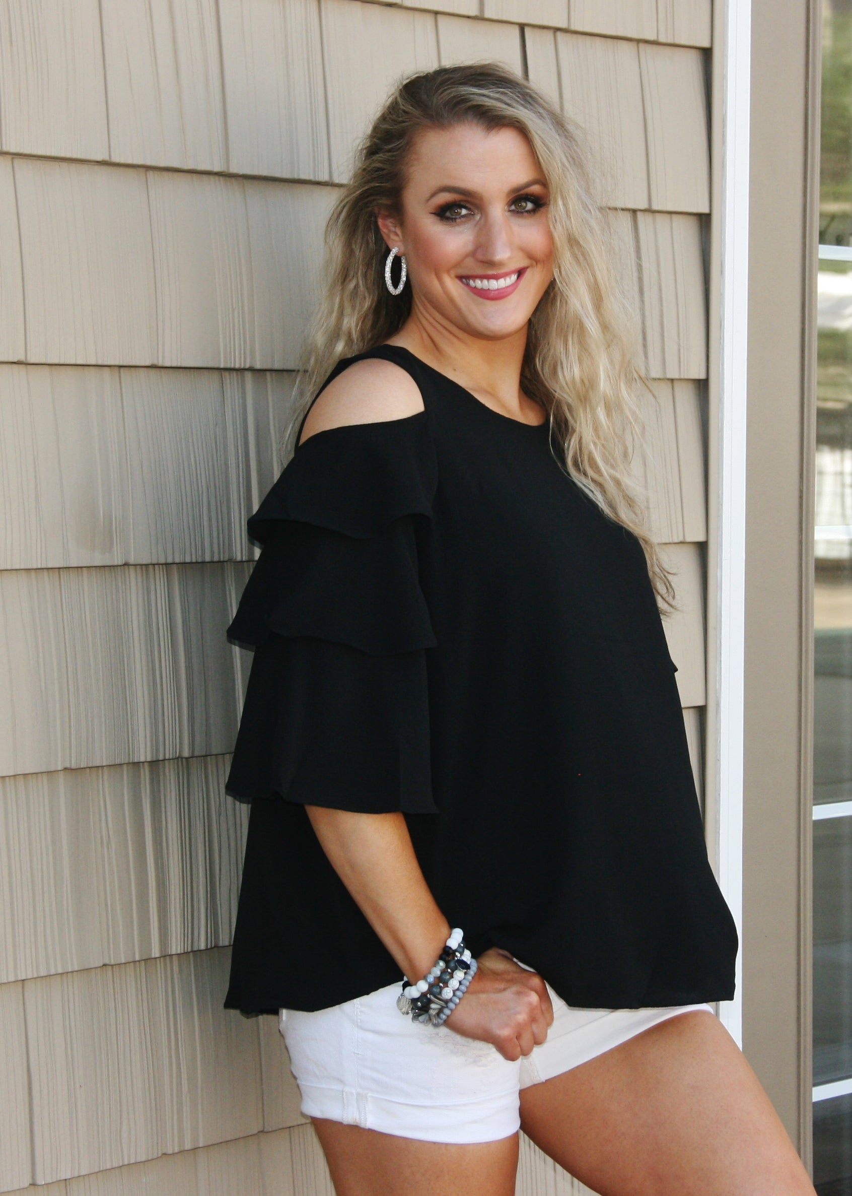 Black Cold Shoulder Top With Ruffled Sleeve