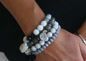 Gray and White Seashell Bracelet