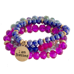 Fuschia and Blue Stacked Bracelets