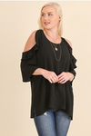 Plus Size Black Cold Shoulder Top with Ruffled Sleeve