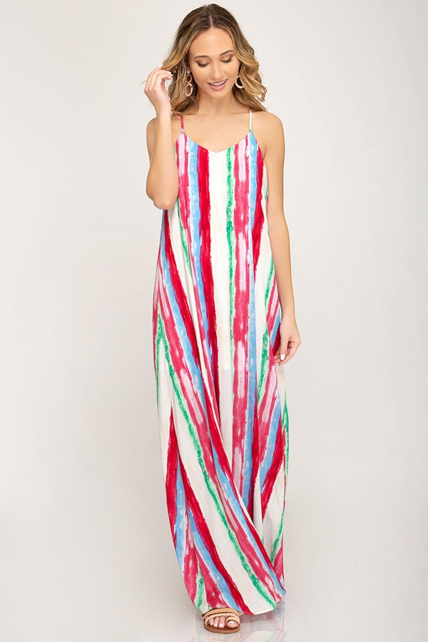 Stripe It Rich! Maxi Dress